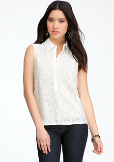 bebe Lace Paneled Sleeveless Top
