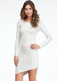 bebe Rib Sleeve Seam Hi-Lo Dress