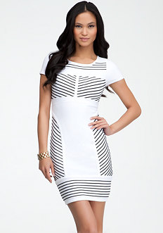 bebe Ottoman Colorblock Bodycon Dress