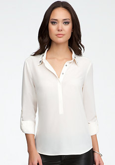 bebe Jewel Collar Rolled Sleeve Pullover