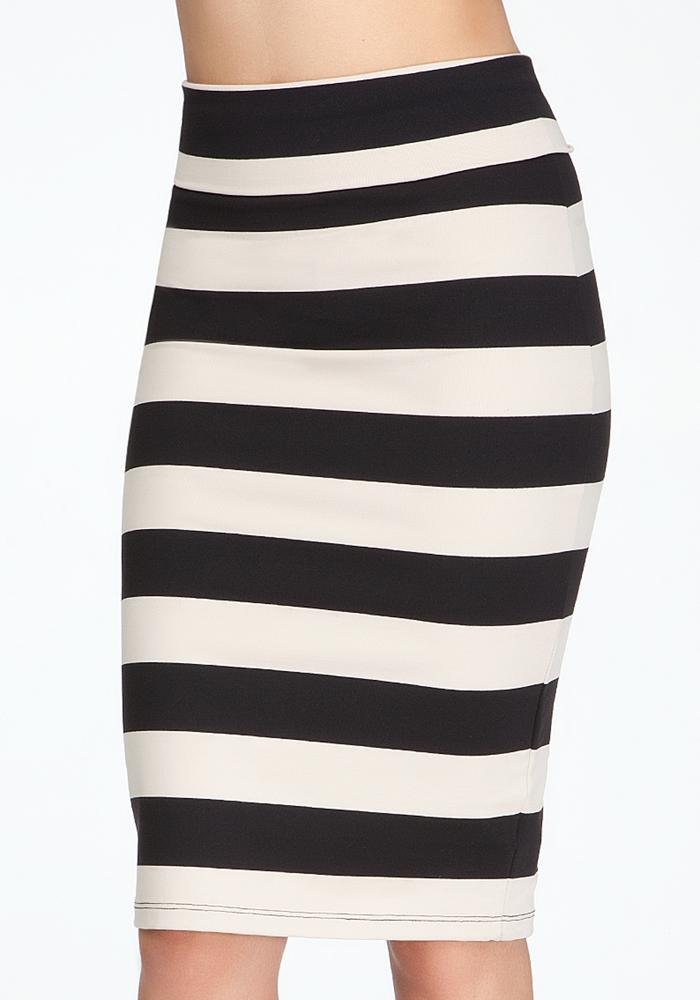 Wide Stripe Midi Skirt