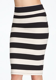 bebe Wide Stripe Midi Skirt