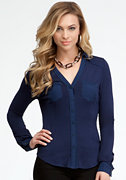 bebe Long Sleeve Button Up Blouse