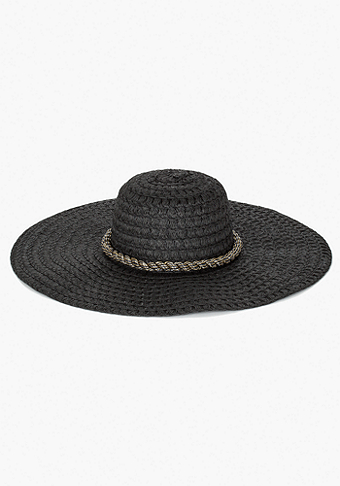 bebe Metallic Cord Trim Floppy Hat