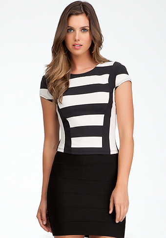bebe Crop Rugby Stripe Top