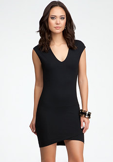 bebe Crossover Hem Dress