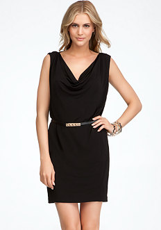 bebe Sleeveless Cowl Front & Back Dress