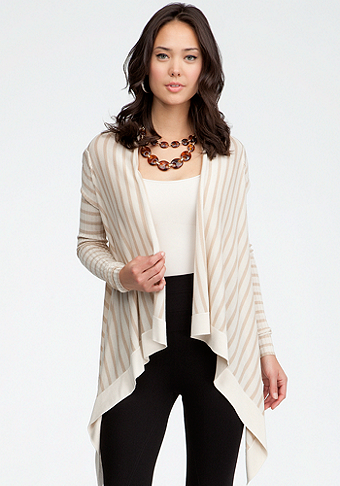 Crossover Drape Stripe Cardigan - ONLINE EXCLUSIVE at bebe