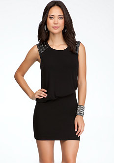 bebe Studded Asymmetric Blouson Dress