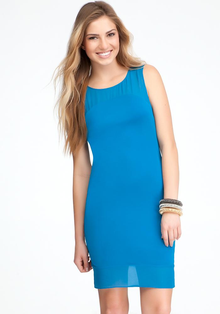 Contrast Bottom Yoke Dress
