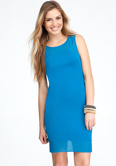 bebe Contrast Bottom Yoke Dress