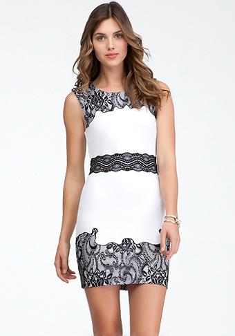bebe Lace Trim Ponte Dress