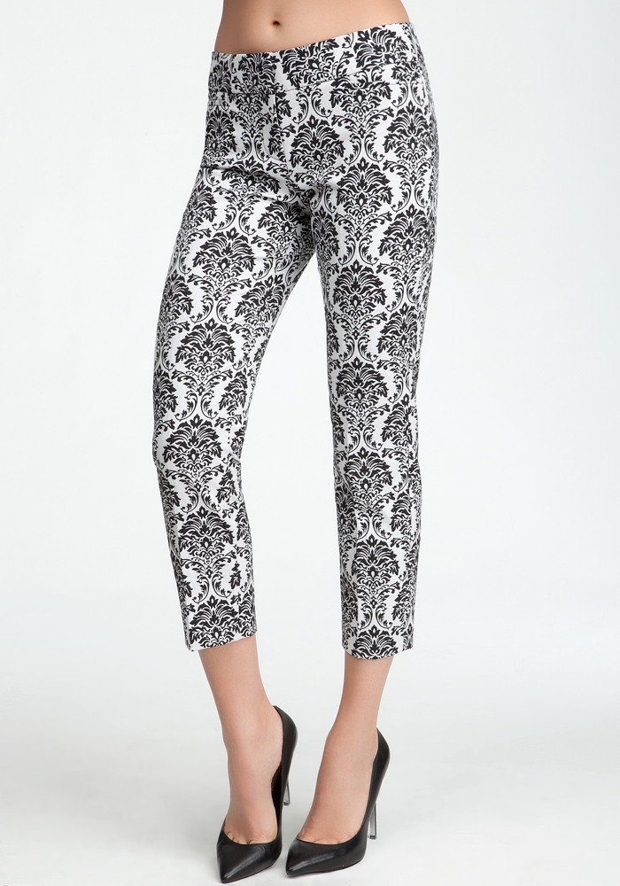 Brocade Crop Pant - Black/White - 6