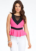 Colorblock Mesh Peplum Tank at bebe