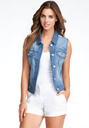bebe Lace Back Denim Vest
