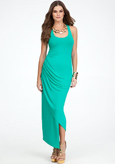 bebe Asymmetric Cinched Waist Maxi Dress