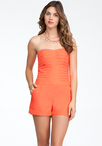 bebe Pleated Bodice Romper