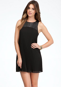 bebe Pleated Leather & Yoke Dress