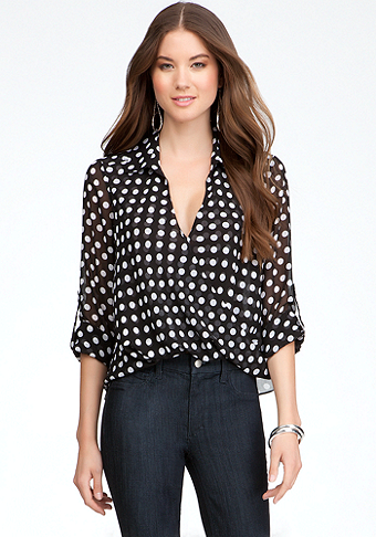 Printed Hi-Lo Twist Front Top at bebe