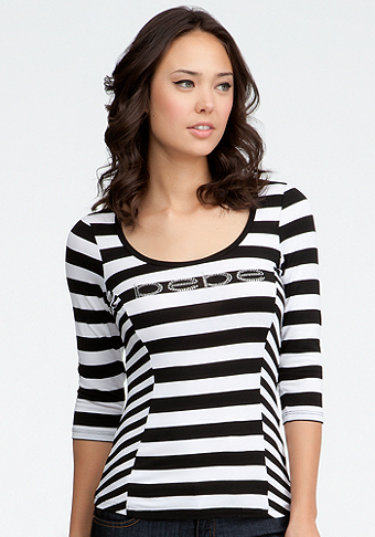 Logo Stripe Keyhole Back Top - ONLINE EXCLUSIVE at bebe
