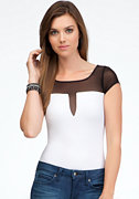 bebe Short Sleeve Plunging Neck Bodysuit