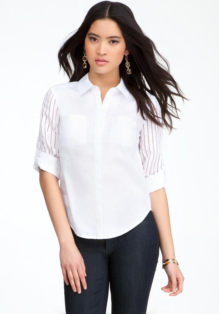 Tie Front Poplin Shadow Shirt
