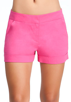 Cuffed Linen Trouser Shorts at bebe