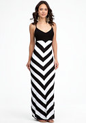 bebe Chevron Stripe Maxi Sweater Dress