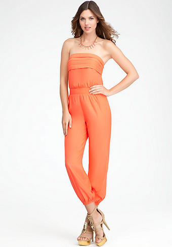 bebe Pleated Smock Detail Jumpsuit