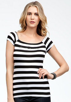 bebe Logo Stripe Raglan Scoop Top