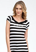 bebe Logo Double V-Neck Stripe Top