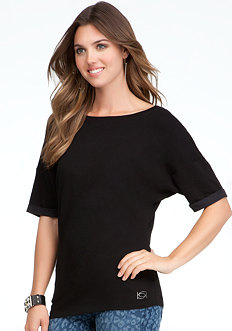 bebe Logo Rolled Sleeve Top - ONLINE EXCLUSIVE