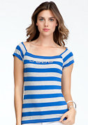 bebe Stripe Raglan Scoop Tee