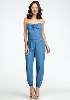 Chambray Tie Detail Jumpsuit at bebe
