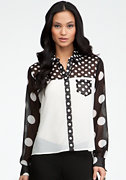 bebe Mix Dot Blocked Button Up Blouse
