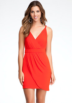 bebe Faux Wrap Twisted Dress