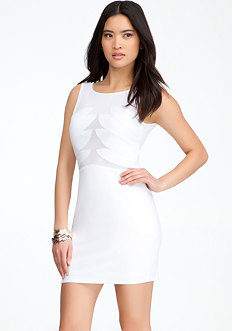 bebe Contrast Mesh Bodice Dress