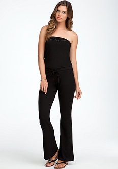 bebe Logo Lightweight Bubble Jumpsuit