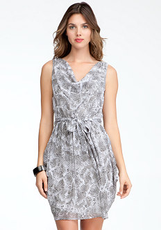 bebe Printed Cowl Neck Dress