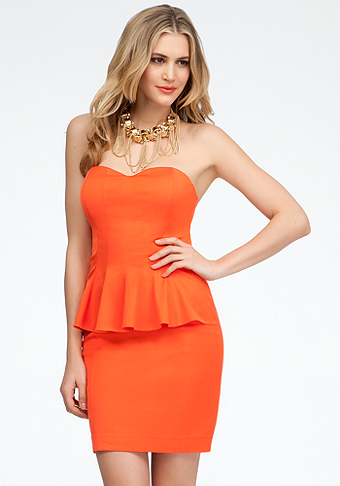 bebe Strapless Peplum Dress