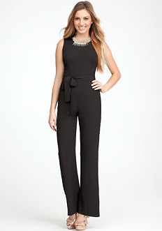 Silk Georgette Contrast Jumpsuit at bebe