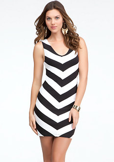 bebe Mitered Stripe V-Neck Dress
