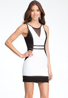 bebe Mesh Yoke Colorblock Dress