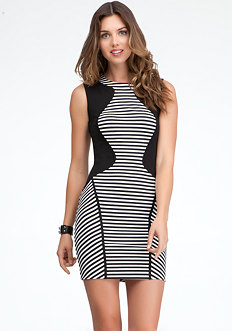 bebe Bodice Inset Stripe Dress