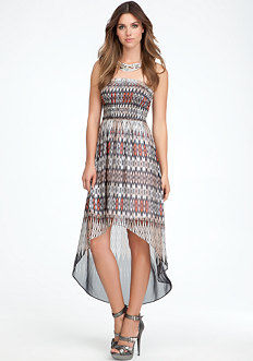 Strapless High Low Print Maxi Dress at bebe