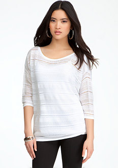 bebe Open Stitch Stripe Top