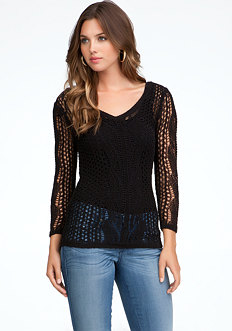 bebe Lace Stitch V-Neck Sweater