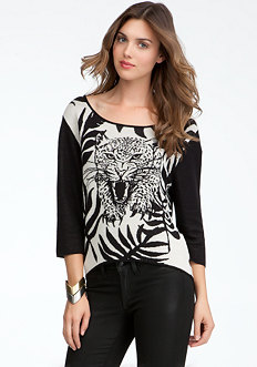 bebe Tiger Jacquard Sweater