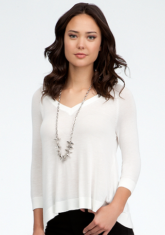bebe V-Neck Raglan Chiffon Back Top