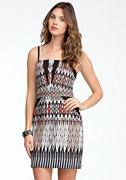 bebe Printed Sateen Dress